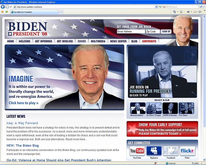 Joe Biden 2008 Website January 31 2007